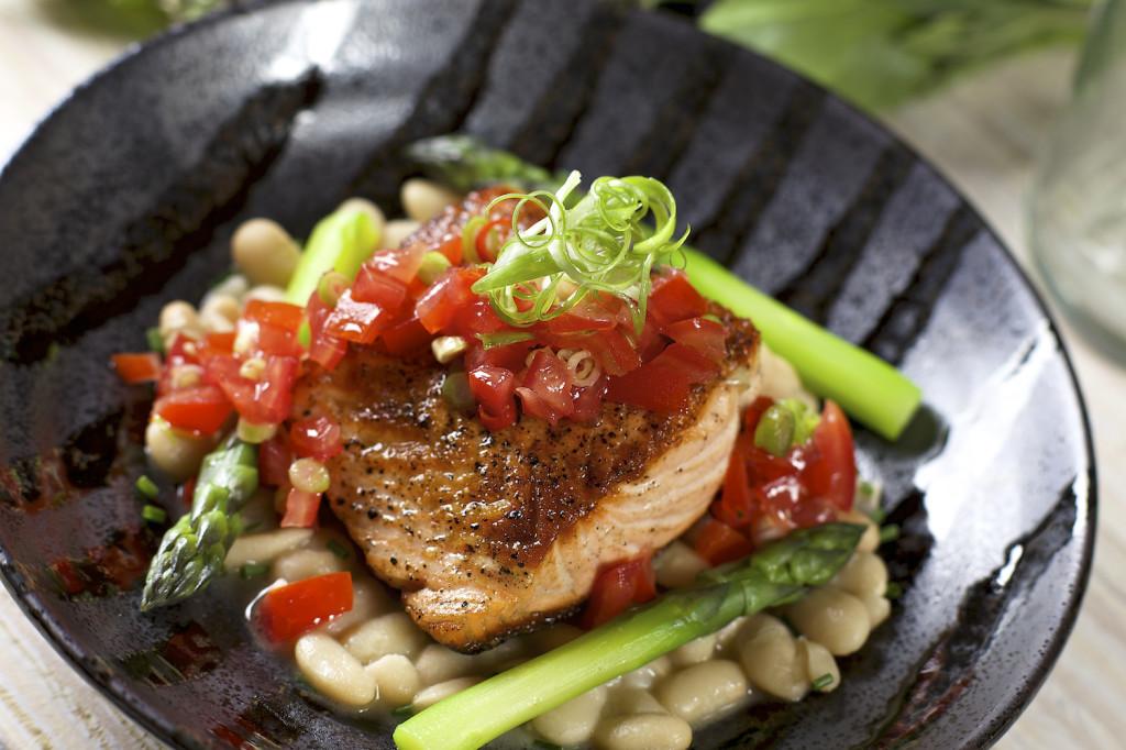 salmon entree white beans tomato sambal 25049