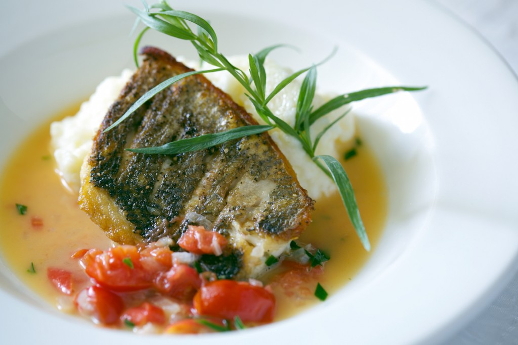 bass with mash and broth 21601