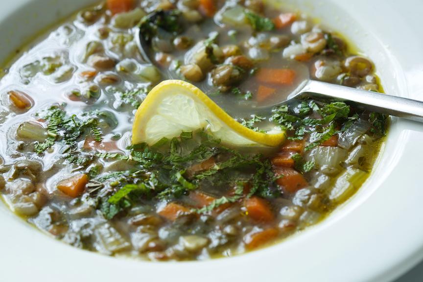 green lentil lemon mint soup 28436